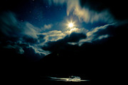 Moonlit Scene Prints - Night sky and moon Himalyan Print by Raimond Klavins