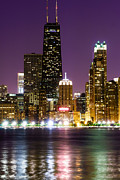 Midwestern Prints - Night Skyline of Chicago Print by Paul Velgos