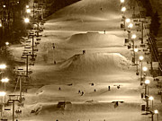 Snow Board Prints - Night Slope Print by Brenda Conrad