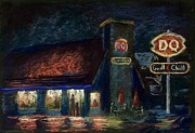 Night Scene Pastel Prints - Night Spot Print by Bruce Schrader