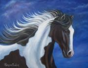 Pinto Horse Paintings - Night Storm by Theresa Paden
