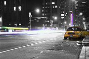 Cab Photo Framed Prints - Night Street Framed Print by Dan Holm