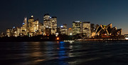 Skyscaper Posters - Night Sydney Skyline Poster by Bob and Nancy Kendrick