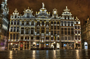 Open Place Framed Prints - Night Time in Grand Place Framed Print by Juli Scalzi