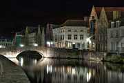 Belgium Photo Posters - Night Time on the Canal Poster by Juli Scalzi
