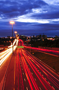 Moving Metal Prints - Night traffic Metal Print by Elena Elisseeva