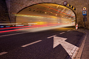 Long Street Prints - Night Traffic Light Trails in Warsaw Print by Artur Bogacki