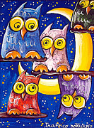 Dreamy Owl Prints - Night Traffic Print by Raffaella Di Vaio