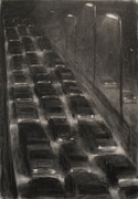 Driving Mixed Media - Night Traffic by Steve Dininno