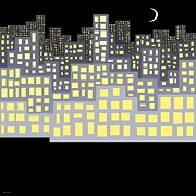 Windows Digital Art Originals - Night by Val Arie