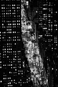 Manhaten Prints - Night View Down Towards Fifth 5th Avenue Ave At Night New York City Print by Joe Fox
