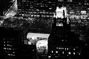 Manhaten Prints - Night View Of Bryant Park Ice Skating Rink And Roof Of American Standard Building New York City Print by Joe Fox