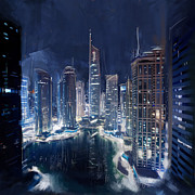 Featured Painting Originals - Night View of JLT Dubai by Corporate Art Task Force