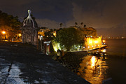 Puerto Rico Framed Prints - Night View of Old San Juan Framed Print by George Oze