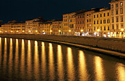Facades Posters - Night View of river Arno bank in Pisa Poster by Kiril Stanchev