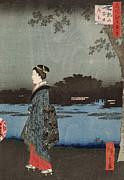 Hiroshige - Night View of Sanya Canal and Matsuchi Hill