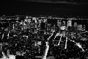 Manhaten Prints - Night View Of South Manhattan New York City Bay Night Skyline Print by Joe Fox