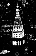 Manhaten Framed Prints - Night View Of Top Of Metropolitan Life Insurance Corp Tower Building New York City Framed Print by Joe Fox