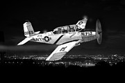 Single Drawings Posters - Night Vision Beechcraft T-34 Mentor Military Training Airplane Poster by Jack Pumphrey