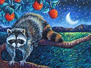Raccoons Framed Prints - Night Visitor Framed Print by Harriet Peck Taylor