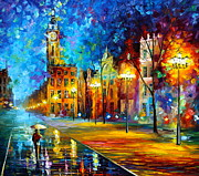 Rain Painting Framed Prints - Night Vitebsk Framed Print by Leonid Afremov
