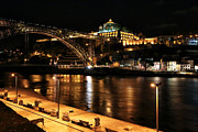 World Cities Posters - Night Walk along the Douro Poster by John Rizzuto