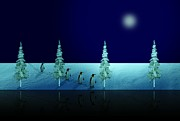 Waters Digital Art - Night Walk of the Penguins 2.5 by David Dehner