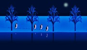 Waters Digital Art - Night Walk of the Penguins by David Dehner