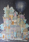 Night Winter City Print by VV Art Batik