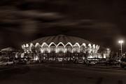 night WVU Coliseum basketball arena Print by Dan Friend
