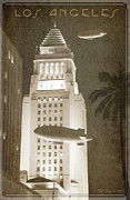 Night Zeppelins Over L A Print by Bill Jonas