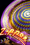 Amusement Ride Posters - Night Zipper Poster by Caitlyn  Grasso