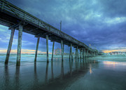 Seashore Digital Art Metal Prints - Nightfall at the Pier Metal Print by Lori Deiter