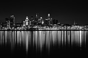 Rivers Framed Prints - Nightfall in Philly b/w Framed Print by Jennifer Lyon