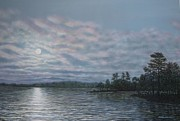 Seascape With Clouds Posters - Nightfall - Moonrise On The Waterfront Poster by Kathleen McDermott