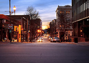 Crosswalk Prints - Nightfall On Patton - Asheville Print by Anne Beatty