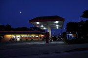 Oil Pumps Prints - Nightfall Over The Local Gas Station 5D25173 Print by Wingsdomain Art and Photography