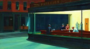 Realist Prints Posters - Nighthawks Poster by Pg Reproductions