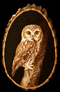 Owl Pyrography Metal Prints - Nightkeeper Metal Print by Minisa Robinson