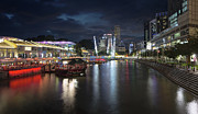 Esplanade Outdoors Posters - Nightlife at Clarke Quay Singapore River Poster by JPLDesigns