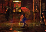 Rain Painting Framed Prints - Nightlife Framed Print by Michael Pickett