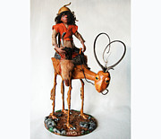 Mixed Media Sculpture Posters - Nightrider - mythical creatures Poster by Linda Apple