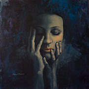 Night  Painting Originals - Nights in July by Dorina  Costras