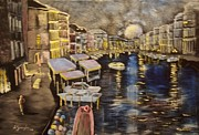 Venice Mixed Media Originals - Nights in Venice by Anca Gheorghiu