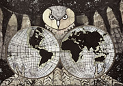 Old Map Mixed Media Prints - Nights Owl desaturated  Print by Rory O Loughlin