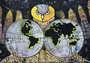 Old Map Mixed Media Prints - Nights Owl Print by Rory O Loughlin
