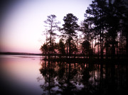 Chatham Digital Art Prints - Nightscape of Jordan Lake Print by LB Christopher Photography