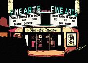 Asheville Digital Art Framed Prints - Nighttime at the Asheville Fine Arts Theatre Framed Print by Anne Beatty