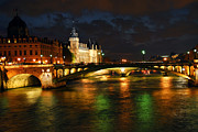 Historical Buildings Prints - Nighttime Paris Print by Elena Elisseeva