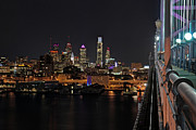 Philadelphia Photo Prints - Nighttime Philly from the Ben Franklin Print by Jennifer Lyon